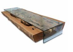 Mesa de centro rústica com vidro - Madeirado - Móveis de madeira maciça
