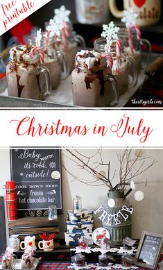 Christmas in July party ideas | From frozen hot chocolate to a build your own snowman activity, this is everything you need to throw the perfect Christmas party.