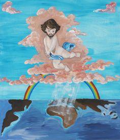 Ozbolt Baby Jesus Brings Rain to Africa, 2010  Acrylic on board  70 x 59.7 x 5.7 cm / 27 1/2 x 23 1/2 x 2 1/4 in