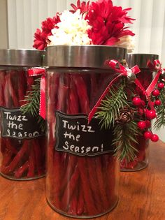 Twizz the season! A great gift for coworkers - a canister of twizzlers! Or you can fill it with any candy you want. I like that the canister can be reused!