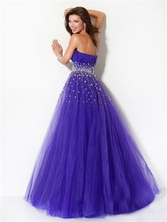 Strapless Ball Gown Beaded Layered Indigo Long Prom Dress PD0699