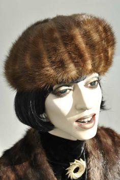 Vintage 1960s Mitzi Mink Fur Hat Vintage 1960s Ladies Mitzi Boutique of London Brown Mink Fur Hat -