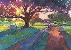 KMSchmidt ACEO Ltd Ed Print, Fauve OAK TREE COUNTRY ROAD SUNSET LANDSCAPE ART
