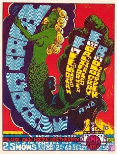 ☮ American Hippie Music Art Concert Poster ~ Moby Grape at The Ark 2/17-19/67