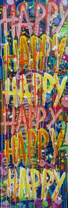 Happy (Peinture),  120x40 cm par Olivier PIOCH Acrylique sur toile tendu