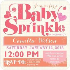 "Baby Sprinkle invitations are endearing and help emphasize the tiny ""sprinkle"" size of your unborn baby. Featuring colorful raindrops or a delightful spattering of dainty sprinkles, these charming invitations will help set the tone for your upcoming baby shower."