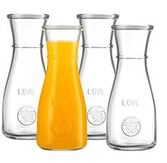 Glass Carafe LOVE Drink Pitcher - 4 Pack - Elegant Wine Decanter, Narrow Neck For Easy Grip, Wide Mouth for Classic Pouring - Great for Parties and Events, 500 ml, by Kitchen Lux Baby Shower Brunch, Floral Baby Shower, Mimosa Bar Sign, Bubbly Bar, Champagne Brunch, 1 Rose, Rose Gold, Gold Bridal Showers, Clean Dishwasher