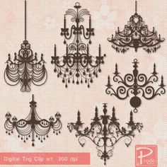 Chandeliers & Candlestics Clip Art Clipart cp812 by PoodeDesigns, $5.00