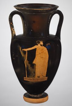 Nolan neck-amphora (jar), ca. 440–430 B.C.; red-figure  Attributed to the Dwarf Painter  Greek, Attic, Classical  Terracotta
