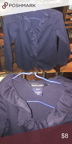 Ralph Lauren shirt NWOT Girls navy blue RL shirt. So soft so nice. My daughter never wore it. Shirts & Tops Blouses