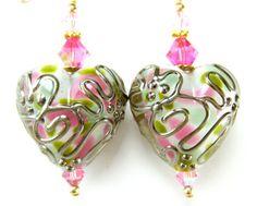Heart Earrings, Pink Gold Scroll Heart Lampwork Glass Earrings, 14k Gold Filled Earrings - Crazy Love