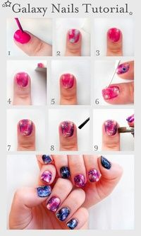 "Pretty (Squared) galaxy nails tutorial nail art tutorial Yay I was trying to find this! I was like yay that's cool when I saw ""galaxy nails. Nail Art Diy, Cool Nail Art, Love Nails, Pretty Nails, Nail Diamond, Galaxy Nails Tutorial, Tutorial Nails, Nails Decoradas, Galaxy Nail Art"