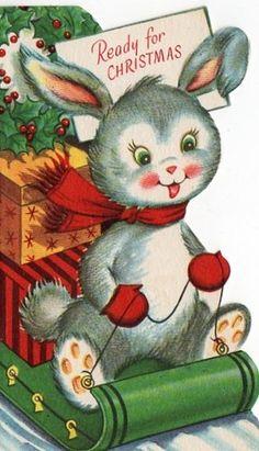 Vintage Christmas card. /linetind/christmas/           BACK - #Rabbits