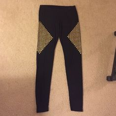 Tart black leggings with gold studs medium M These leggings from Tart are super comfortable, soft and stylish! You can never have enough leggings! I have over ten pairs! The gold stud embellishments are on the side of the legs towards the top and form a diamond of you are looking straight from the side. Let me know if you have any questions! 93% modal and 7% spandex. Pretty true to fit medium. Tart Pants Leggings