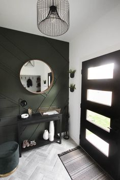 gorgeous modern entryway reveal is here! What a huge transformation from the outdated space it once was! From the beautiful bench, to the herringbone floors, to the black front door, and the wood accent feature wall. This entry is stunning! Modern Entrance, Modern Entryway, Entryway Decor, Modern Decor, Entryway Tile Floor, Modern Front Door, Contemporary Decor, Entry Way Tile, Entryway Dresser