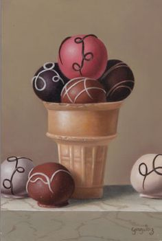 """Truffle Ice Cream"" oil/panel, 6""x4"" by George A. Gonzalez"