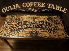 This table is seriously bad-ass. It's a handmade Ouija Board Coffee Table. Have a séance in your living room while you watch The Walking Dead or even Table Ouija, Diy Ouija Board, Painted Furniture, Diy Furniture, Gothic Furniture, Dream Furniture, Industrial Furniture, Que Horror, Horror Art