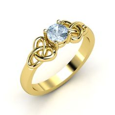 Round Aquamarine 14K Yellow Gold Ring - Katarina Ring (5mm gem) | Gemvara