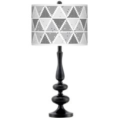 Pointillism Giclee Paley Black Table Lamp (625 DKK) ❤ liked on Polyvore featuring home, lighting, table lamps, grey, grey shades, black table lamps, gray lamps, gray table lamps and black lamp