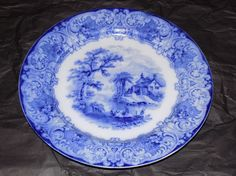 "Antique Royal Doulton Burslem England Geneva 10 1/2"" Plate Flow Blue Marked #RoyalDoulton"