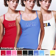 American Apparel Baby Tank Sorority Tops With Sewn On Letters $19.99 #sorority #clothing #americanapparel #Greek
