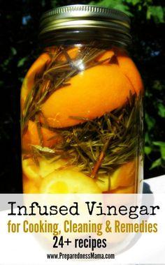 24+ ideas for infusing herbs, fruit and vegetables int vinegar. This is rosemary orange infused vinegar | PreparednessMama