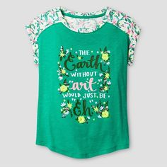 Girls' Graphic Tee -Earth Cat & Jack™ - Cicely Leaf : Target