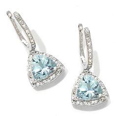 Gem Treasures Aquamarine & White Zircon Drop Earrings