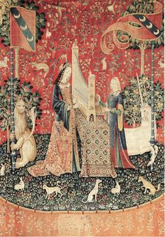 """Hearing"" panel from ""The Lady and the Unicorn Tapestry"", Flanders, XV century, Hôtel de Cluny, Paris."