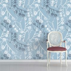 Blue Ghost Leaves Wallpaper by Rachael Taylor  http://www.rachaeltaylordesigns.co.uk/shop/for-the-home/living/wallpapered-com/blue-ghost-leaves-wallpaper#.UToFaKVWI2w