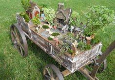 Fairy Garden In A Wagon. Love It!