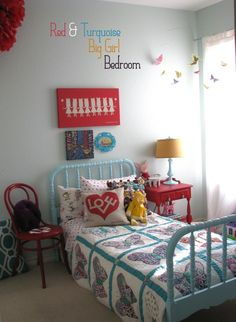 The After Of My Daughter S Red White Turquoise And Yellow Bedroom