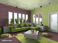 Beautiful Fresh Purple And Green Interior Color Scheme Living Room Ideas Design
