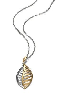 Leaf necklace in rhodium- and 14k gold-plated sterling silver with palladium, $159; Elle Jewelry