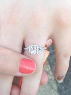 My best friend's engagement ring! Princess cut with a square halo, from rogers and hollands :) dainty and classy!