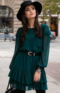 Roco Szyfonowa zielona sukienka 259 Ruffle Blouse, Women, Fashion, Moda, Fashion Styles, Fashion Illustrations