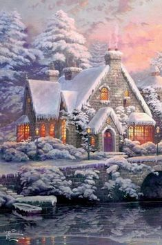 Disney Merry Christmas, Magical Christmas, Christmas Art, Thomas Kinkade Art, Thomas Kinkade Christmas, Snow Scenes, Winter Scenes, Vintage Christmas Images, Beautiful Christmas Pictures