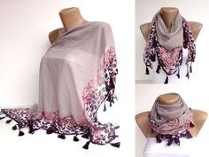 triangle tassel scarf  purple women scarf accessories for by seno, $19.00