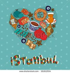 Istanbul postcard design in vector - stock vector