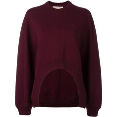 Marni Adda sweatshirt (€505) ❤ liked on Polyvore featuring tops, hoodies, sweatshirts, red, red pullover, purple crew neck sweatshirt, sweater pullover, crewneck sweatshirt and layered tops