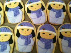 winter Kokeshi girl cookies