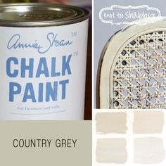 This is a putty color using greenish raw umber, and is a really useful color. It 's terrific on its own and with white as in the chair pictured here, or for distressing as a top coat with Cream or Scandinavian Pink underneath. It is generally seen as a more rustic colour good for a country look rather than the château  Another way to use it is to mix it into another color such as Château Grey or Duck Egg Blue to make them paler and knocked back.