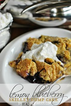 Lemon Blueberry Skillet Dump Cake with Almond Whipped Cream: easy, no mess recipe with pantry ingredients! #dumpcake