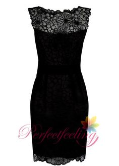 2014 New unique black lace mother of the bride dresses Jewel Knee length formal evening dress part dress prom dress custom on Etsy, $149.00