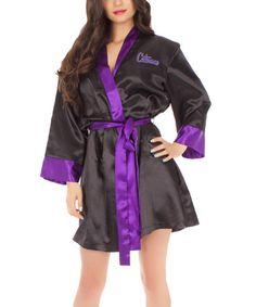 Another great find on #zulily! Black & Purple Catwoman Satin Robe - Women #zulilyfinds