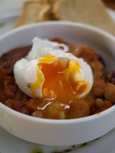 poached on baked beans; city farm cafe, east perth, australia