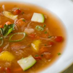 """Jacques Pepin's """"Refrigerator"""" soup - this seems to be my most-repinned post. It's versatile and thrifty and a great way to use up all those little things in the fridge. When you hear him talk about this soup, you can tell it's dear to his heart for many reasons. He usually mentions cubed day-old bread instead of grits. Merci, Jacques!"""