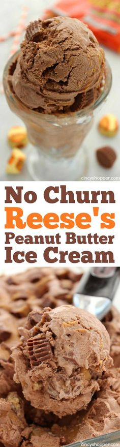 No Churn Reese's Peanut Butter Ice Cream- chocolate, peanut butter swirls and Reese's loaded into this yummy homemade cold treat.