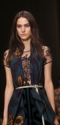 Contrasting textures - embroidered lace and vine print cashmere on the Burberry A/W14 runway