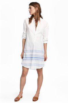 Wijde tuniek - Wit/blauw gestreept - DAMES   H&M NL 1